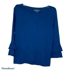 Lilly Pulitzer Girl's Top Shirt Blue Ruffle Sz XL
